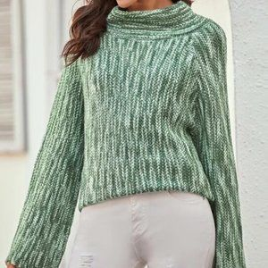 Green Bell Sleeve Sweater with Funnel Neck in S
